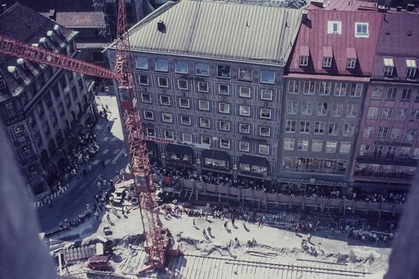 Münchner Marienplatz zur Zeit des S- und U-Bahnbaus, 1968