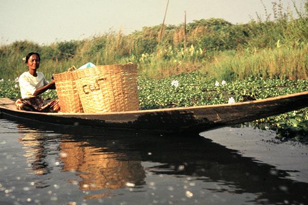 Eine Frau im Boot kehrt vom Verkauf auf dem Markt in Ywama mit leeren Kˆrben zur¸ck.