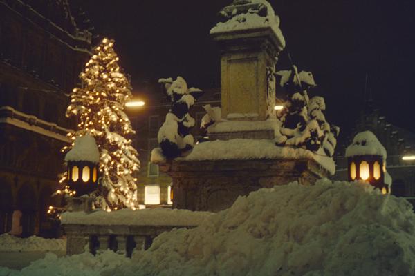 Weiße Weihnachten in München.