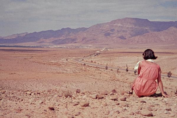 Eine Frau mit rotem Kleid betrachtet eine Oase in der Ferne.