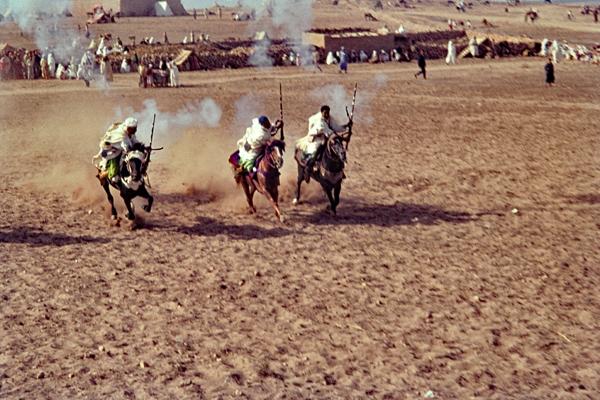 Marokkanische Reiter während einer Vorführung in Fantasia in Qualidia.