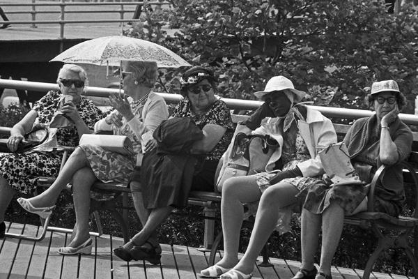 Fünf ältere Frauen sitzen auf einer Bank in New York, während sich eine von ihnen mit einem Sonnenschirm vor der Hitze schützt.