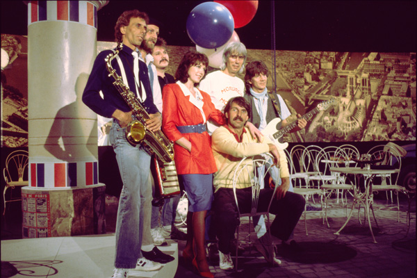 Die Kölner Band Bläck Fööss während einer Aufzeichnung für de Bayrischen Rundfunk in München.