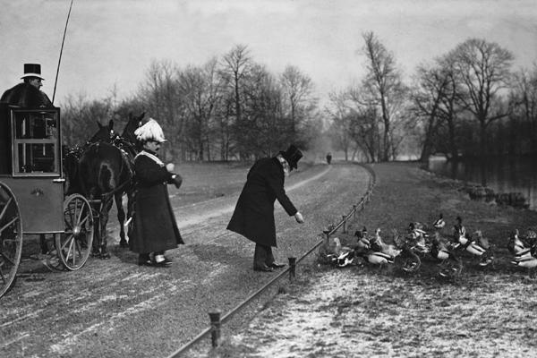 Prinzregent Luitpold von Bayern (1821-1912) beim Füttern der Enten im Englischen Garten.