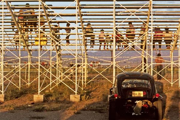 Zuschauer auf der Tribüne beim Drag Race (Beschleunigungsrennen) in Tucson, Arizona, USA